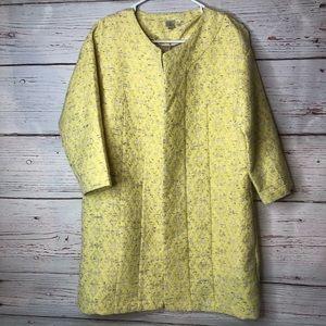 Anthropologie Medium Yellow Stitched Design Blazer